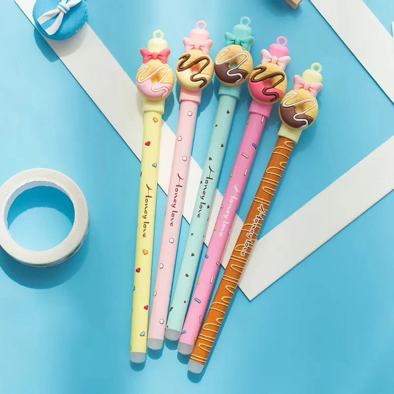 0.5mm Cute Kawaii Chocolate Donut Bow Erasable Gel pens Erasable Blue Ink Pen For Kids School Stationery Girls Student Gifts 12pcs erasable gel pen 0 5mm erasable pens black gel ink pens set school students stationery for take notes edit papers mayitr