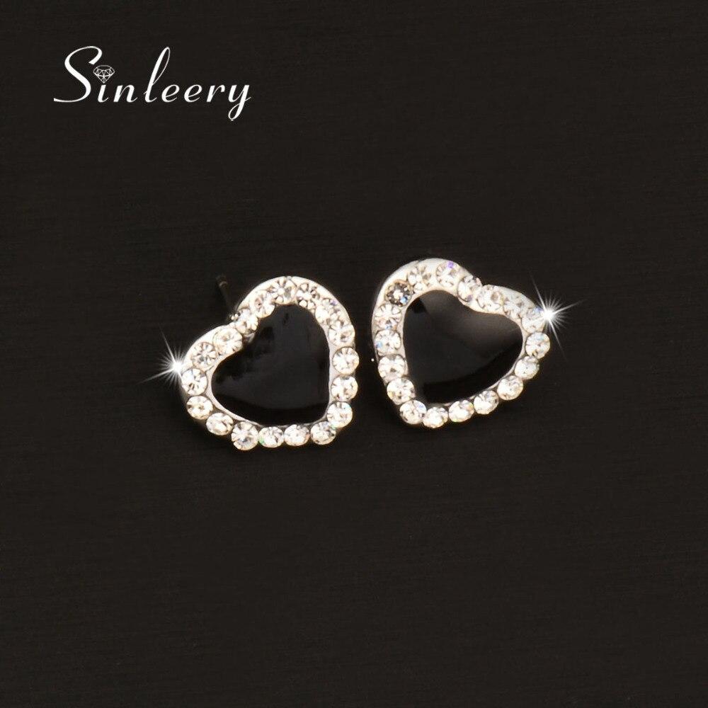 Sinleery Cute Solid Black Heart Stud Earring White Gold Color Cubic Zircon  Earrings Brand Jewelry For