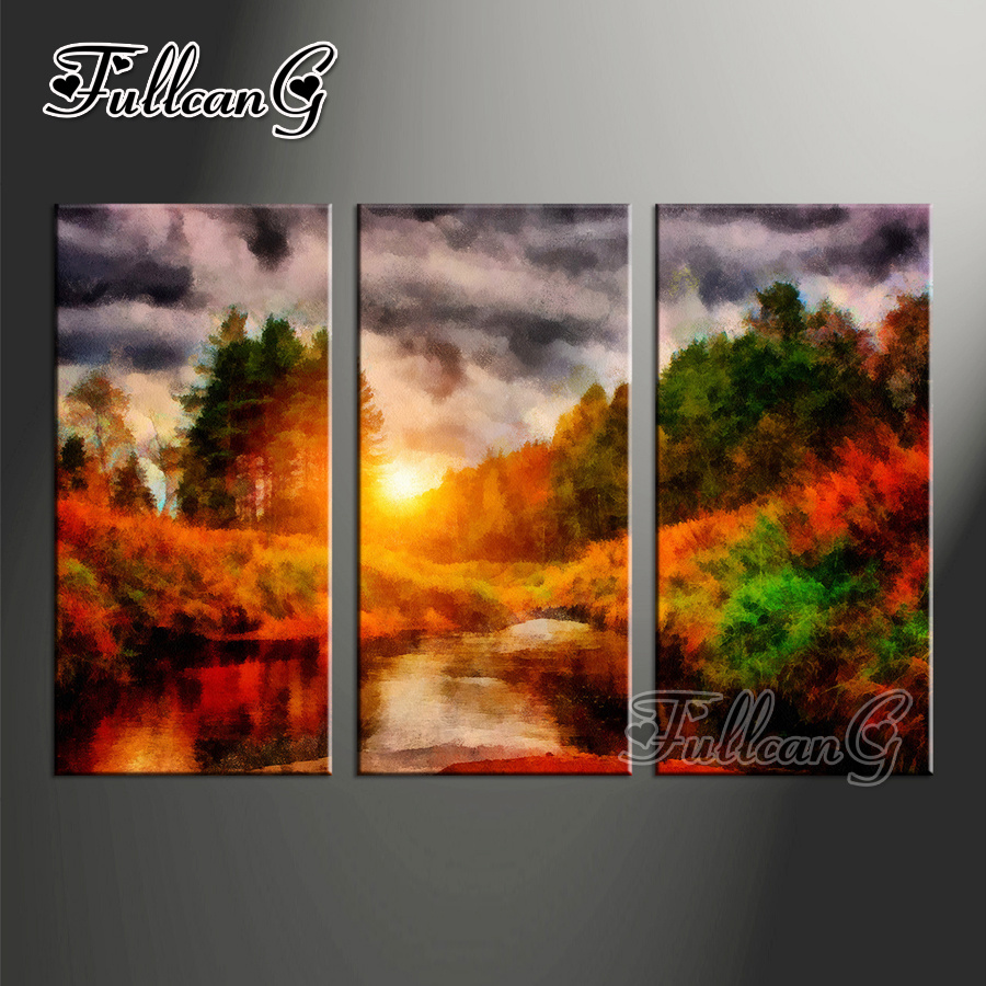 FULLCANG triptych 5d mosaic embroidery quot rainy day amp natural scenery quot diy 3pcs diamond painting cross stitch kit full drill G1236 in Diamond Painting Cross Stitch from Home amp Garden
