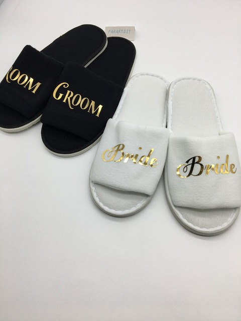 9f0432eb0 Personalized name gold bride groom Wedding Slippers