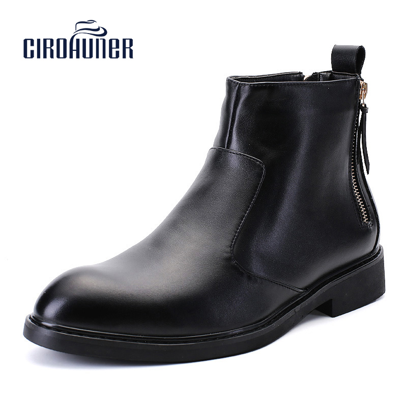 CIROHUNER Men Boots leather black male ankle boots shoes Winter Causal Warm Work Shoes Male Mens Waterproof Ankle Boot
