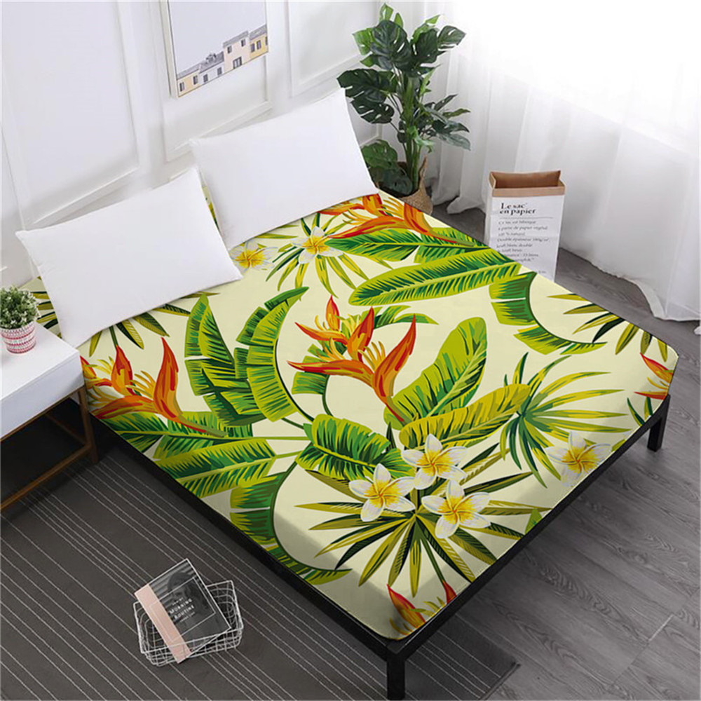 Tropical Forest Green Leaves Bed Sheet Plant Flowers Print Fitted Sheet Bedclothes Deep Pocket Mattress Cover Home Decor D30 in Sheet from Home Garden
