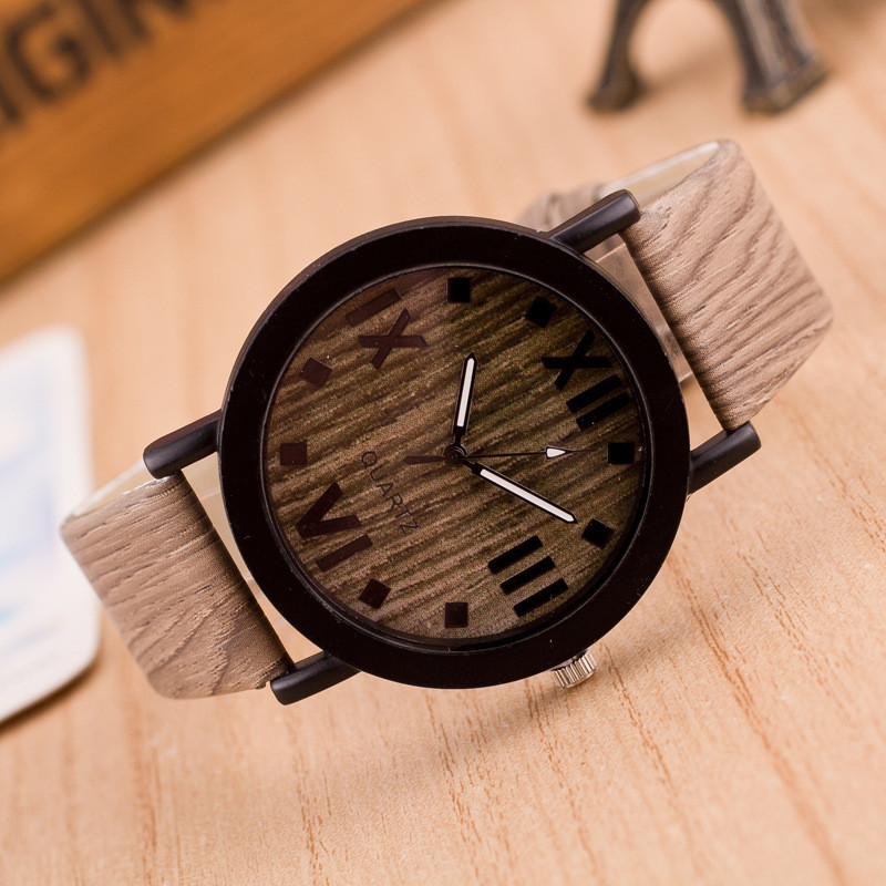 2018 top luxury brand mens PU Leather Band Wood Wrist Watches 17