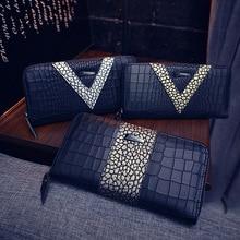 Длинный дизайн бумажник Для женщин женские кошельки с держатель для карт класса люкс Брендовая дизайнерская обувь, с тиснением под крокодиловую кожу Для женщин кошелек, цена в долларах