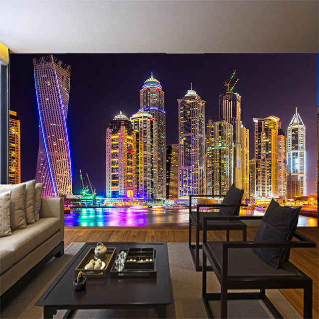 Gentil Custom 3d Mural City Night View Wallpaper Bedroom Restaurant KTV Bar  Television Sofa Background Neon Light