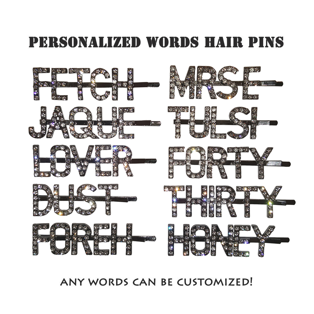 Custom Word Hair Pins/Personalized Letters Hairclips/ Customized Bobby Pins/Blingbling Hair Accessory (Letters Improved) chain