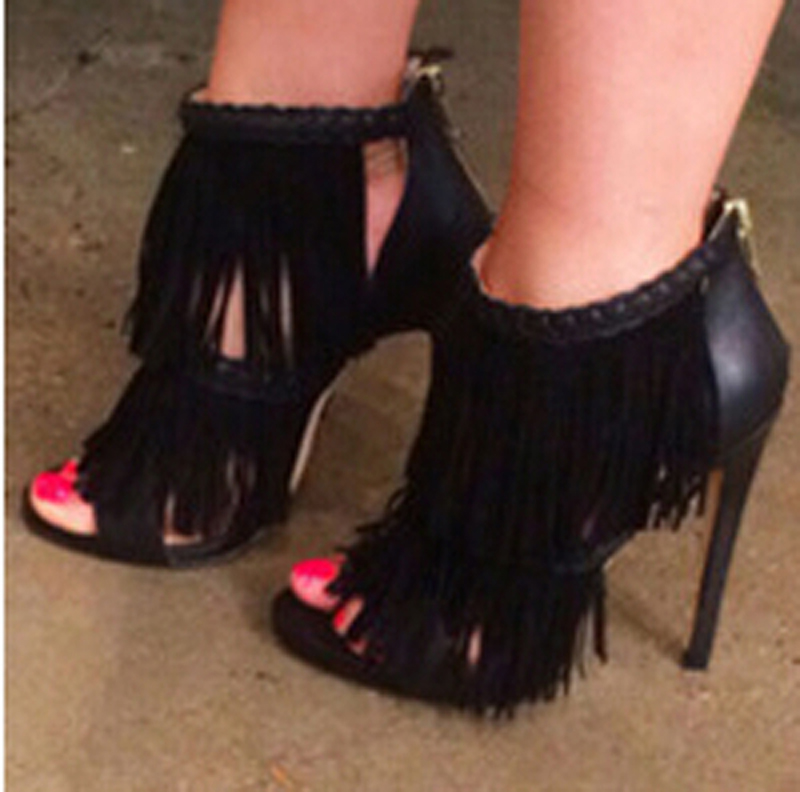 New Design Women Fashion Open Toe Tassels Gladiator Sandals Back Zipper-up Thin Heel Ankle Sandals Formal Dress ShoesNew Design Women Fashion Open Toe Tassels Gladiator Sandals Back Zipper-up Thin Heel Ankle Sandals Formal Dress Shoes