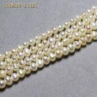 Luoman xiari тонкой AA + Нерегулярные натуральный жемчуг для ювелирных изделий DIY браслет Цепочки и ожерелья Материал 3.5-4 мм strand 14''