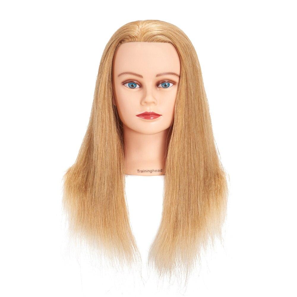 Traininghead 20-22 Tête de Mannequin 100% Cheveux humains Coiffures Formation Headm 24-26 Coiffeur Mannequin Femme poupée Tête D'or