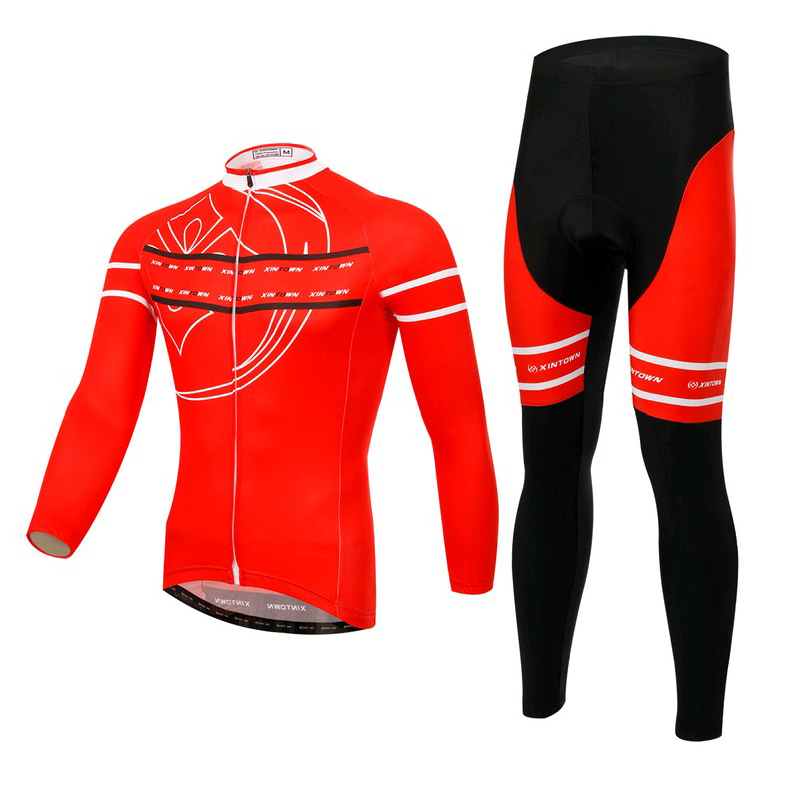 ФОТО XINTOWN Top Quality Men Cycling clothing wear jersey long sleeve Suite Tights 3D Coolmax Gel Paded Sets Breathable Quick Dry 123