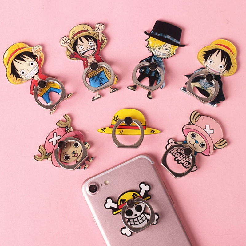 Anime One Piece Luffy Straw Hat <font><b>360</b></font> Degree <font><b>Metal</b></font> <font><b>Finger</b></font> <font><b>Ring</b></font> Mobile Phone Smartphone Stand <font><b>Holder</b></font> for iphone ipad image