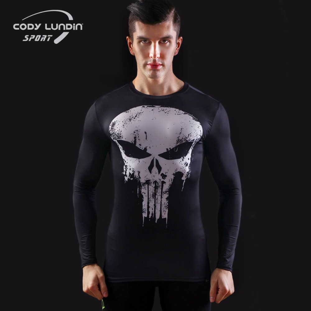 2017 fashion Brand superman batman T-shirt man fitness clothing captain America movement round collar Long sleeve T-shirt