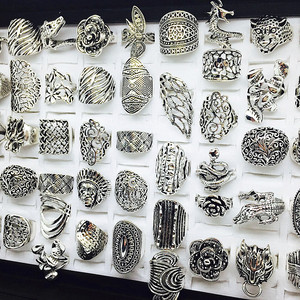 Image 4 - الجملة مجموعة 50 قطعة أنماط مزيج المرأة ريترو مجوهرات خواتم brand new