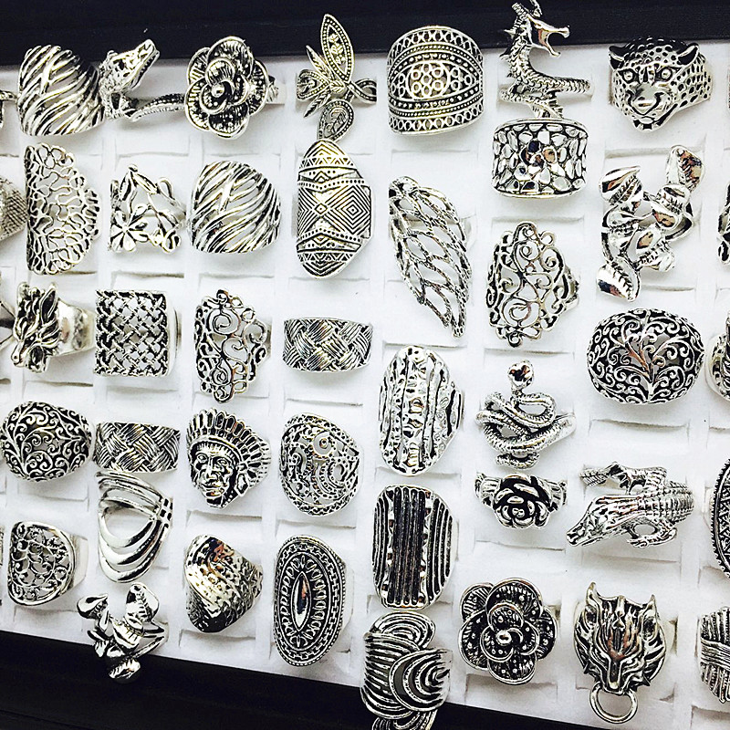 Image 4 - wholesale lot 50pcs mix styles women's retro Jewelry Rings brand new-in Rings from Jewelry & Accessories