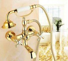 Gold Color Brass Bathtub Faucets Telephone Style Tub Mixer Taps Dual Handle Bathroom Bath Shower Faucet with Handshower ztf123 стоимость
