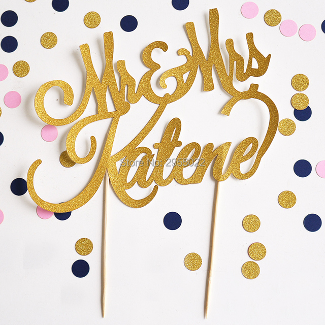 Aliexpress.com : Buy Custom wedding cake topper, Gold glitter ...
