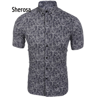Sherosa 2018 Summer Mens Dress Shirts Casual Short Sleeve Floral Print Slim Fit Button Down Boho