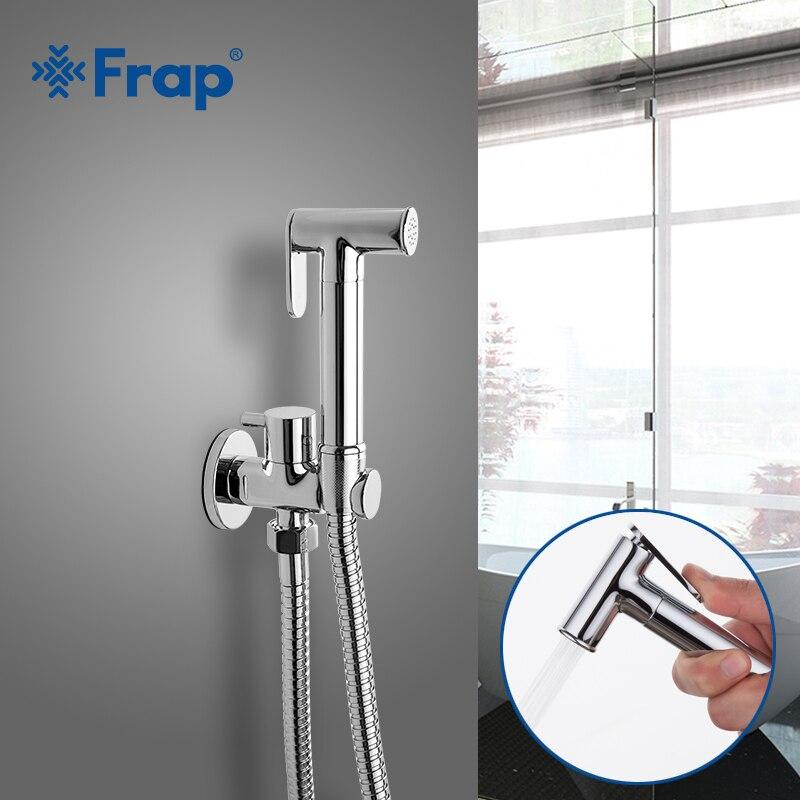 FRAP Bidet Faucets Solid Brass Single Cold Water Corner Valve Bidet Function Cylindrical Hand Shower Tap Crane 90 Degree Switch Bidet Faucets     - title=