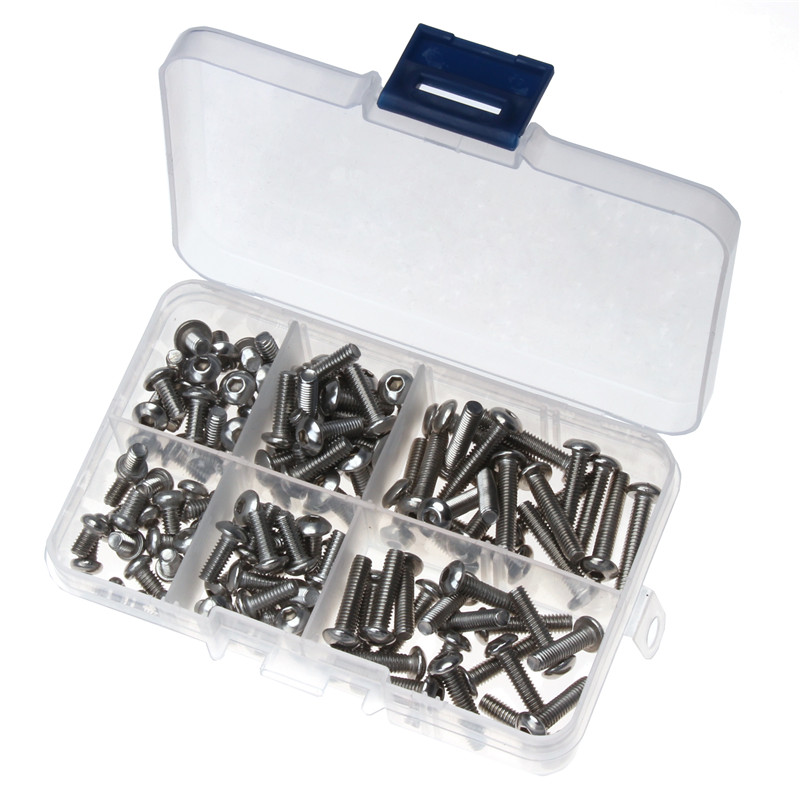 150PCS Silver M4*6/8/10/12/16/20 Stainless Steel Hexagon Socket Button Head Screw Round Head Machine M3 Kit Fasteners 250pcs set m3 5 6 8 10 12 14 16 20 25mm hex socket head cap screw stainless steel m3 screw accessories kit sample box