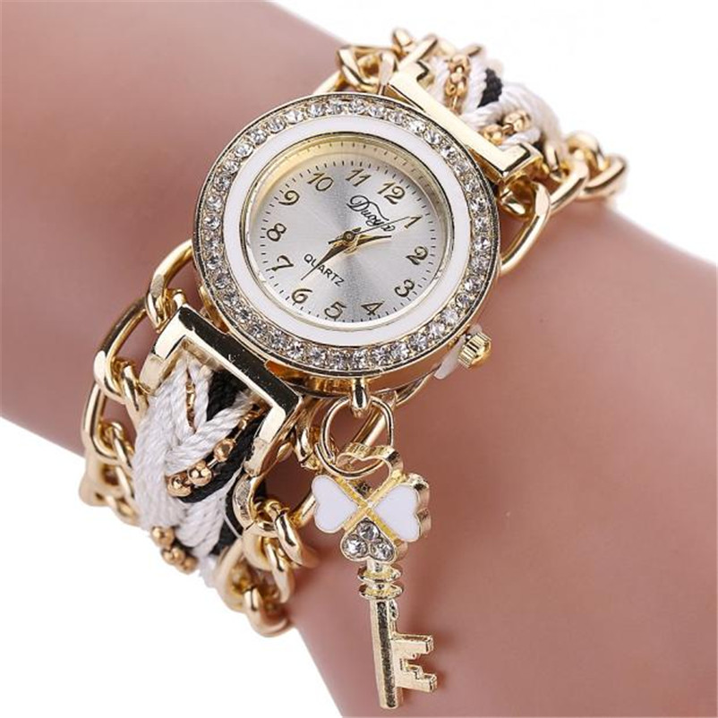 Duoya Fashion Women's Ladies Braided Band Rhinestone Analog Quartz Wrist Watches Bracelet Jewelry women watches bayan kol saati duoya fashion luxury women gold watches casual bracelet wristwatch fabric rhinestone strap quartz ladies wrist watch clock