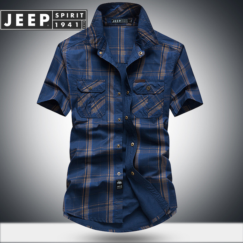 JEEP SPIRIT Summer Plaid Shirt Men Casual Cotton Breathable Men Shirt Camisa Masculina Plus Size M-5XL Short Sleeve Soft Shirts