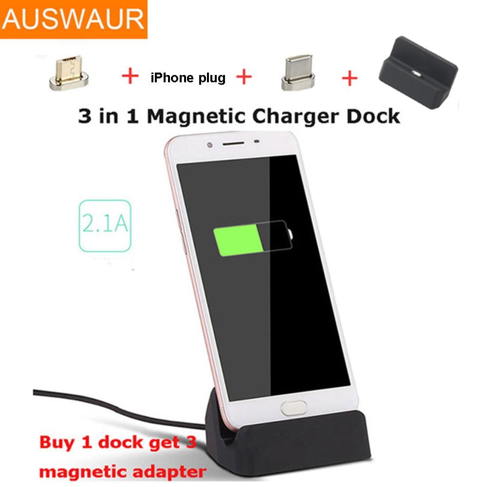17da14c3684 3 en 1 base Dock de carga magnética estación Cradle Holder para iPhone 5 5  5 6 6 7 8 X tipo C Micro cargador de muelle de carga para teléfonos Android  ...