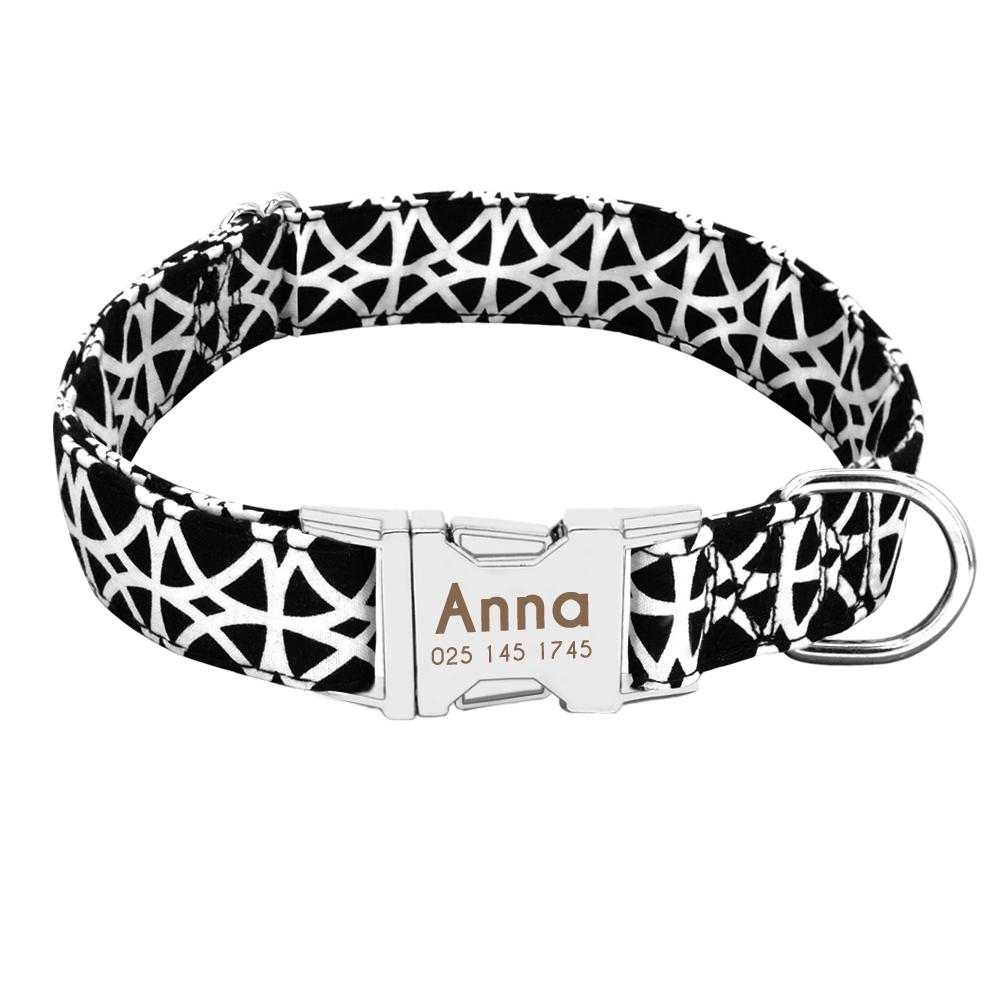 Collar de perro de Nylon personalizado con placa de identificación grabada 16