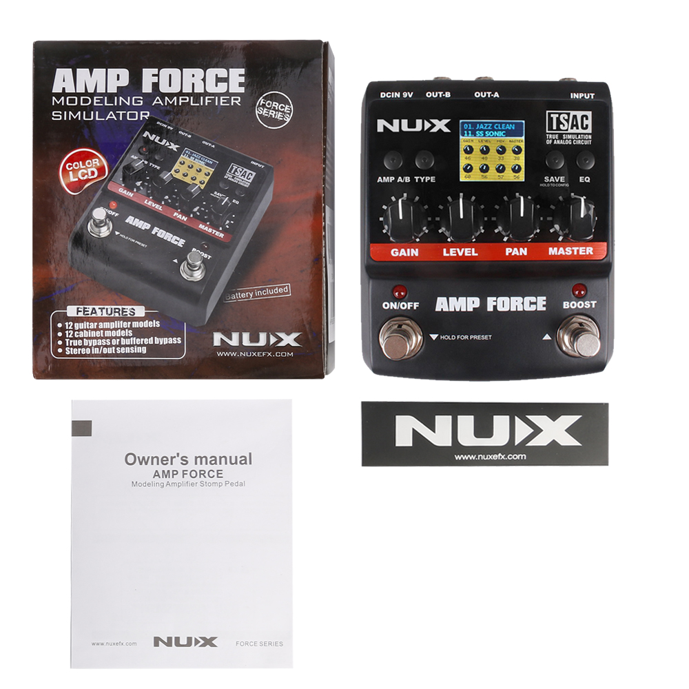 Nux Amp Force Guitar Modeling Amplifier Simulator Electric This Excellent Includes All Components And Electronic Effect Pedal 12 Models Screen Partsaccessories In Parts Accessories From