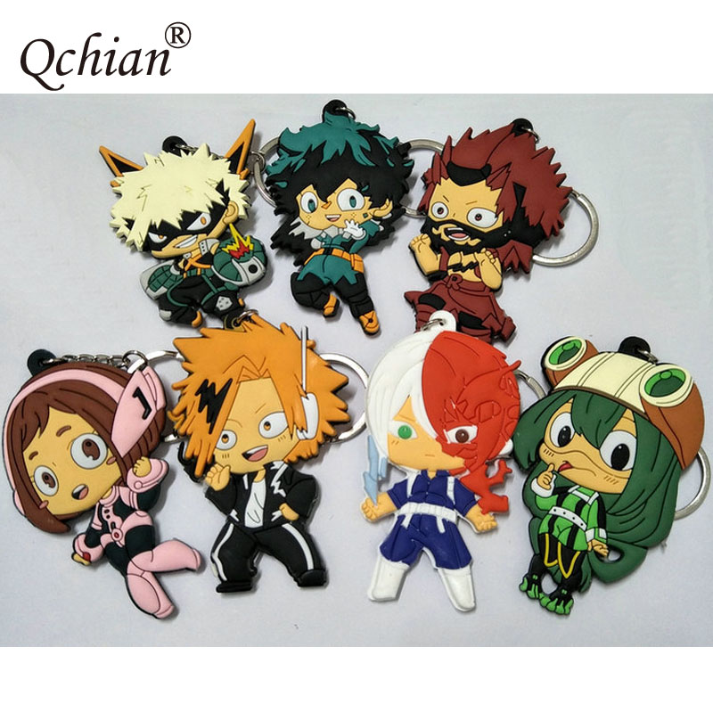 New Hot Cartoon My Hero Academia PVC Double-Sided Model Keychain And Bag Pendant Jewelry Keyring Beautiful Gift For Fans