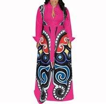 цена на 2019 Women Butterfly Printed Long Sleeve Shirt Dress Turn-Down Neck High Waist Long Maxi Dress Spring Casual Party Club Dress