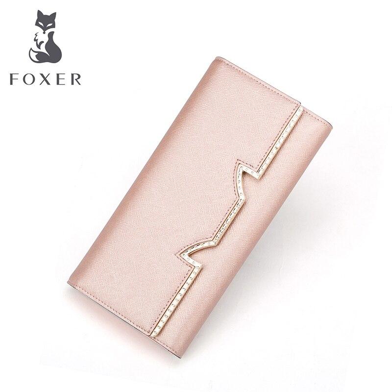 Foxer Brand Women Leather Long Wallet Women's Luxury Fashion Clutch Bags Female Wallet Ladies Purse Wallets For Women