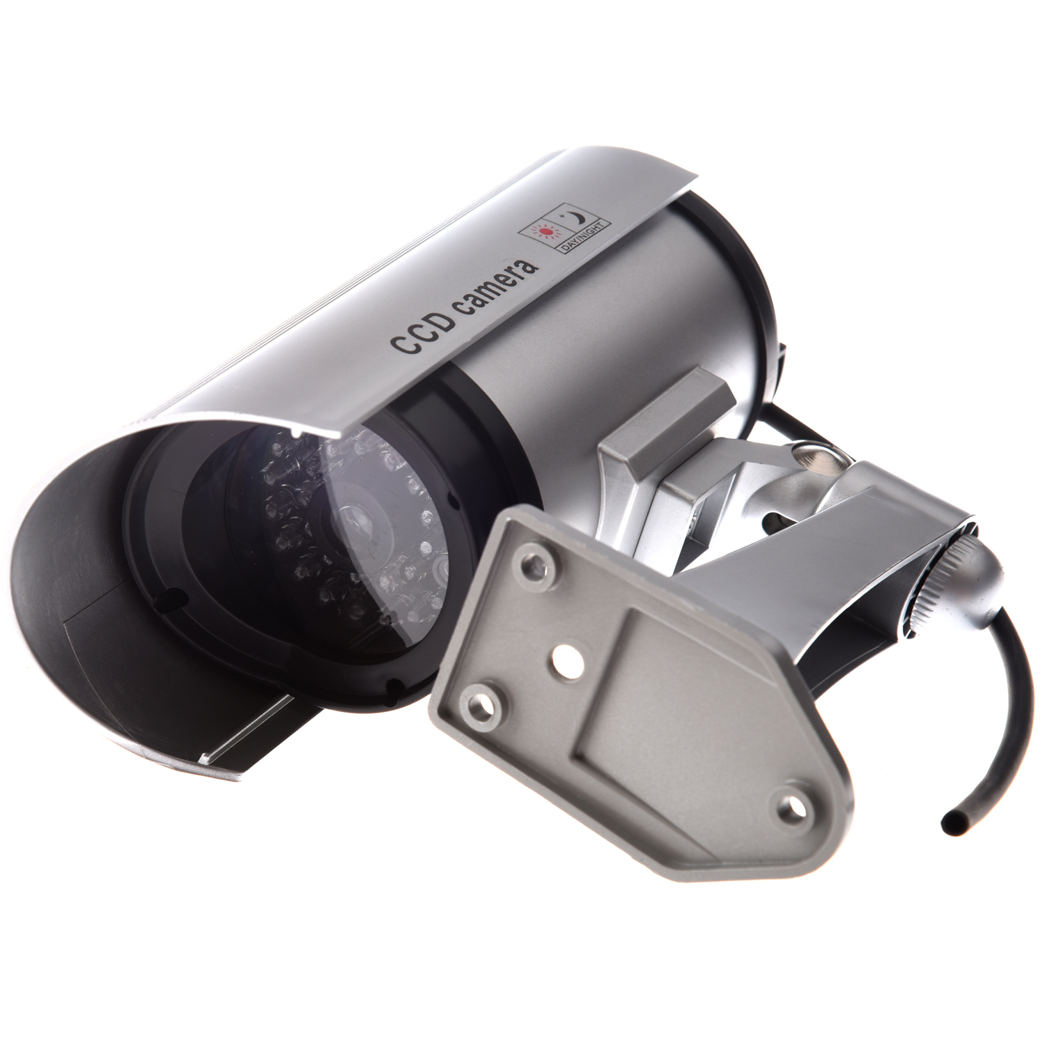 Wholesale OUTDOOR FAKE / DUMMY SECURITY CAMERA w/ Blinking Light (Silver) solar dummy security camera with blinking light silver