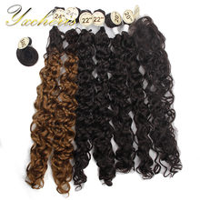 "YXCHERISHAIR 8Pcs/pack Synthetic Kinky Curly Hair Bundle with Closure and Bang 20"" 22"" 24"" Heat Resistant Double Weft Hair Weave(China)"