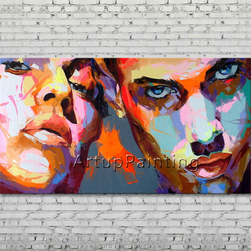 Palette knife portrait Face Oil painting Character figure canva Hand painted Francoise Nielly wall Art picture for living room25Palette knife portrait Face Oil painting Character figure canva Hand painted Francoise Nielly wall Art picture for living room25