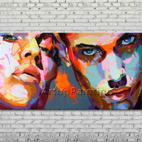 Palette knife portrait Face Oil painting Character figure canva Hand painted Francoise Nielly wall Art picture for living room25