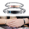 "New Romantic ""Keep me in your heart"" Couple Bracelets Full Crystal+Stainless Steel Promiss Bracelets For Lovers Men Women gift"
