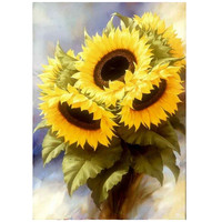 Three Sunflowers 5D Diamond Embroidery Cross Stitch Floral Square Full Diamond Mosaic Picture Pasted Needlework Decor