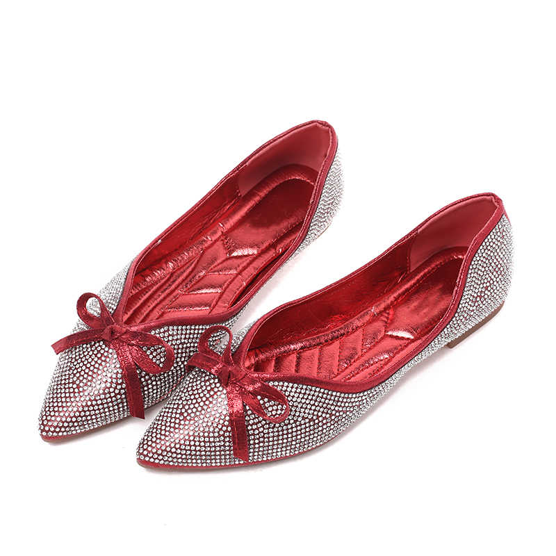 ... Spring Summer Glitter Women Flats Pointed Toe Slip on Flat Shoes Bling  Ballet Flats Bow Ladies ... 43e78f5b93bb