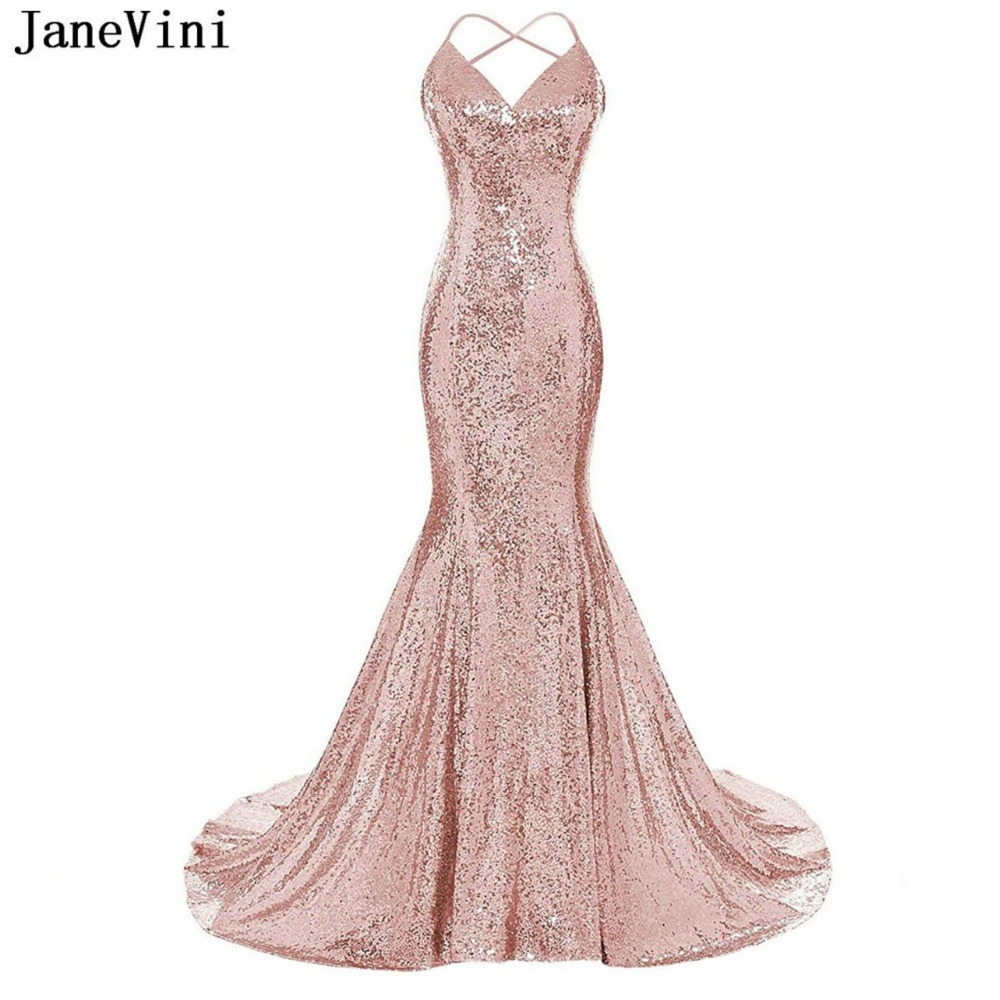 JaneVini Bling Bling Rose Gold Sequined Mermaid Long   Bridesmaid     Dresses   for Women V Neck Backless Sexy Custom Party Prom Gowns