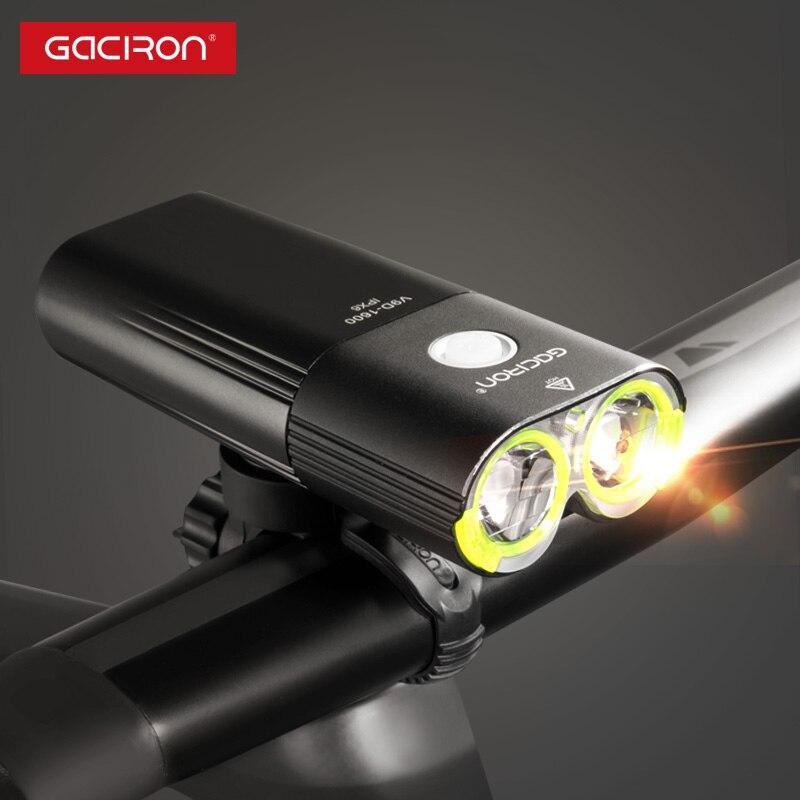 GACIRON profesional 1600 lúmenes de bicicleta banco de potencia de luz impermeable USB recargable luz de la bici de linterna - 2