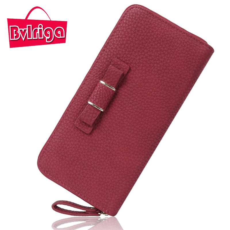 BVLRIGA Bow Ladies Leather Wallet Women Wallet Female Purse For Women Purse Clutch Credit Card Holder Coin Purse long Money Bag women wallets hello kitty bag purse leather long women s purse coin money bag ladies clutch bag card holder sac bolsas feminina
