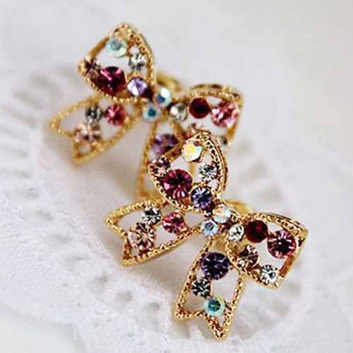 2020 New Women's Colorful Crystal Gold Tone Bowknot Bow Ear Studs Charm Earrings Jewelry