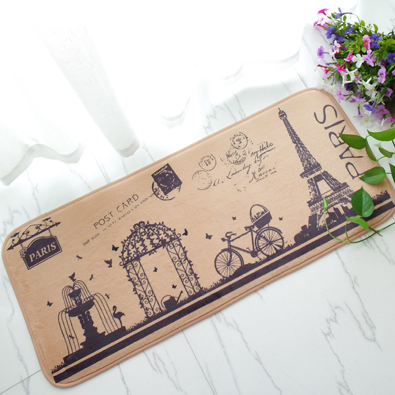 Retro Eiffel Tower Nonslip Welcome Mat for Bathroom Oil Absorbing Kitchen Carpet Rugs Washable Baby Room Decoration Tapete. Retro Bath Mat Promotion Shop for Promotional Retro Bath Mat on