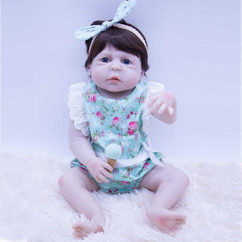 57cm Doll Reborn Babies All Silicone Reborn Dolls Bathing Toys In Blue Flower Dress Cute Lifelike Bebe Reborn Bonecas Juguetes