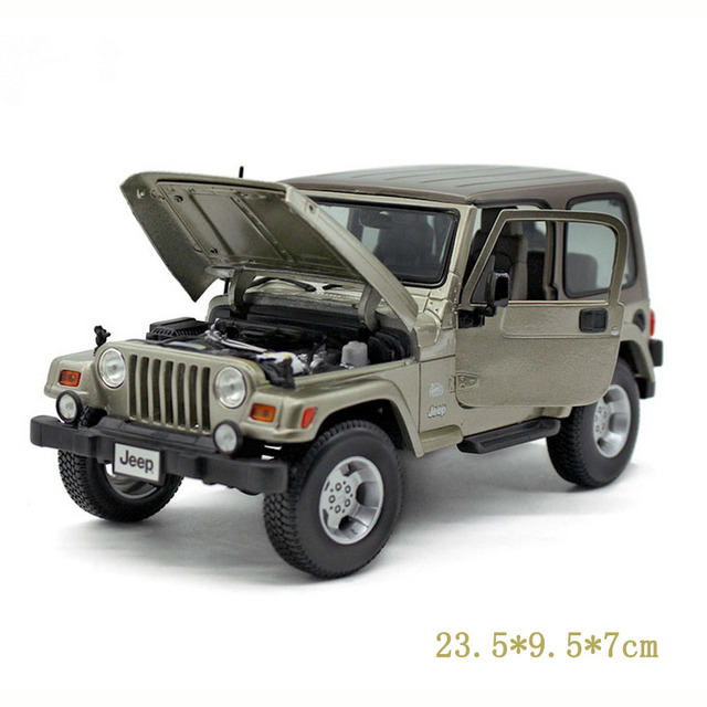 1/18 Scale Car Model Toys Bburago Jeep Wrangler Khaki Diecast  Roadster Car Vehicle New Style   Best Christmas Gifts Coll