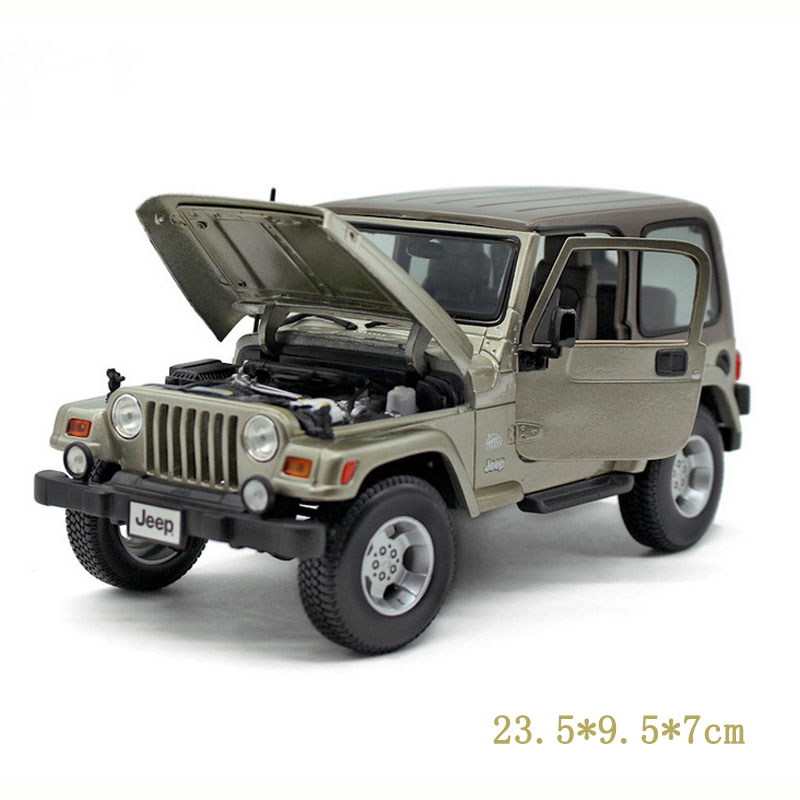 1/18 Scale Car Model Toys  Jeep Wrangler Khaki Diecast  Roadster Car Vehicle New Style  Best Christmas Gifts Coll 1 18 scale red jeep wrangler willys alloy diecast model car off road vehicle model toys for children gifts collections