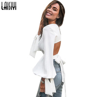 LAISIYI White Sexy Top Lantern Sleeve Lace Up Backless T Shirt Women Long Sleeve Tee Shirt