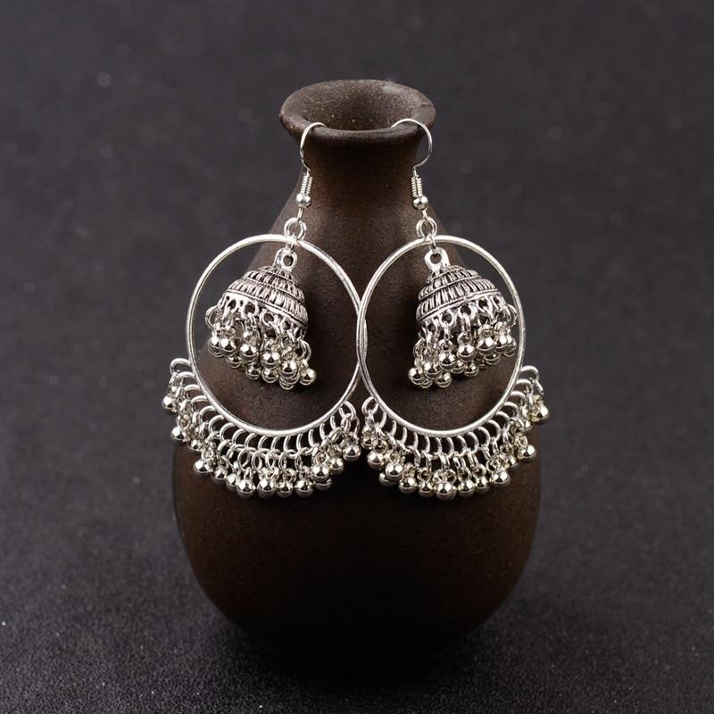 New Big Round Traditional Indian Bell Ladies Drop Earrings Women Gypsy Tassel Dangle Earrings Pakistani Jewelry Jhumka Earrings