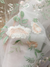 5 Meters Delicate Mesh Floral Embroidery Lace Fabric in Champagne Green Pink, Baby Dress Flower Girl Gown Bridal Prom