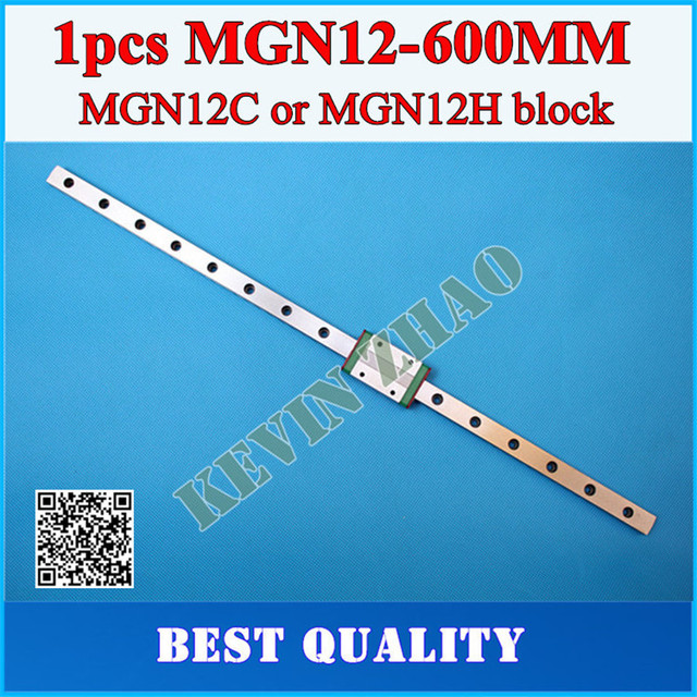12mm Linear Guide MGN12 L= 600mm linear rail way + MGN12C or MGN12H Long linear carriage for CNC X Y Z Axis